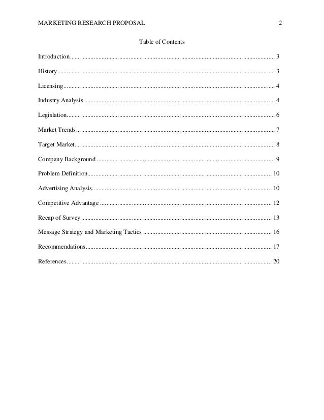 Research proposal table of contents
