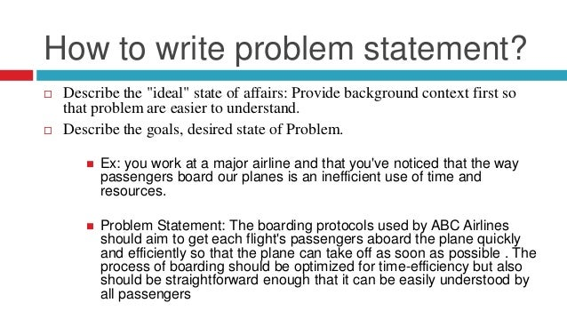 Dissertation writing problem statement