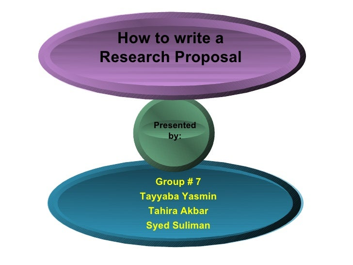 How to write a Research Proposal Group # 7 Tayyaba Yasmin Tahira Akbar Syed Suliman Presented  by:
