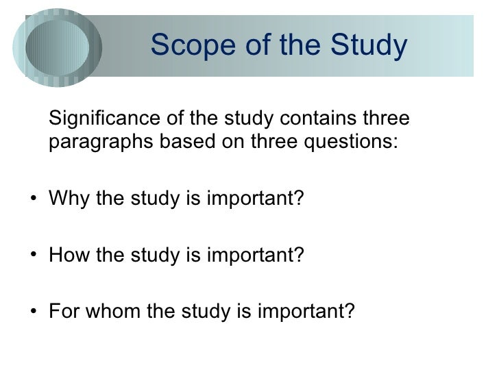 scope of study in research thesis