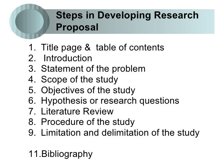 steps in a research proposal