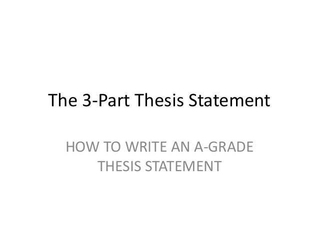 three parts of a thesis statement include The 3-part thesis statement & outline for essays you've already done the work for the thesis statement, so be sure to include it at the very beginning so that.