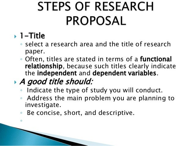 Steps In Research Proposal Writing