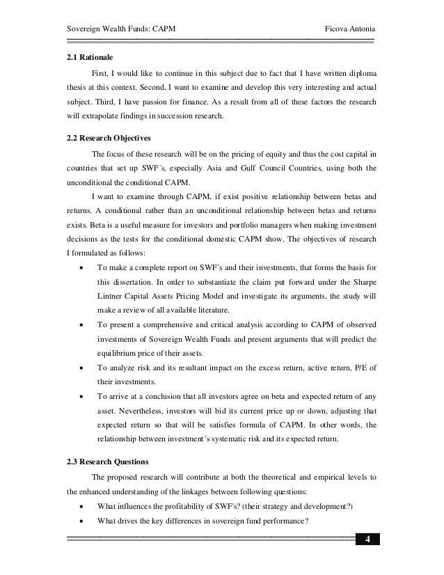Capital asset pricing management of risk dissertation