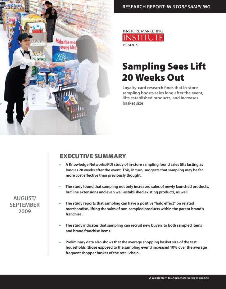 RESEARCH REPORT: IN-STORE SAMPLING                                                        PRESENTS:                       ...