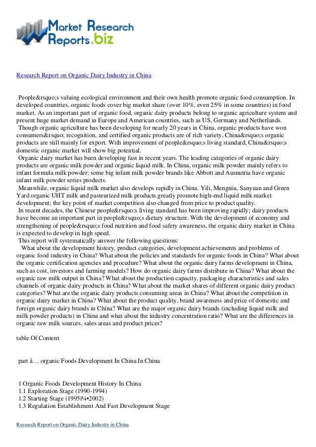 Research Report on Organic Dairy Industry in China People's valuing ecological environment and their own health prom...