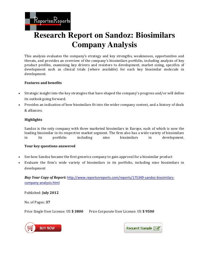 Research Report on Sandoz: Biosimilars                    Company Analysis    This analysis evaluates the company's strate...