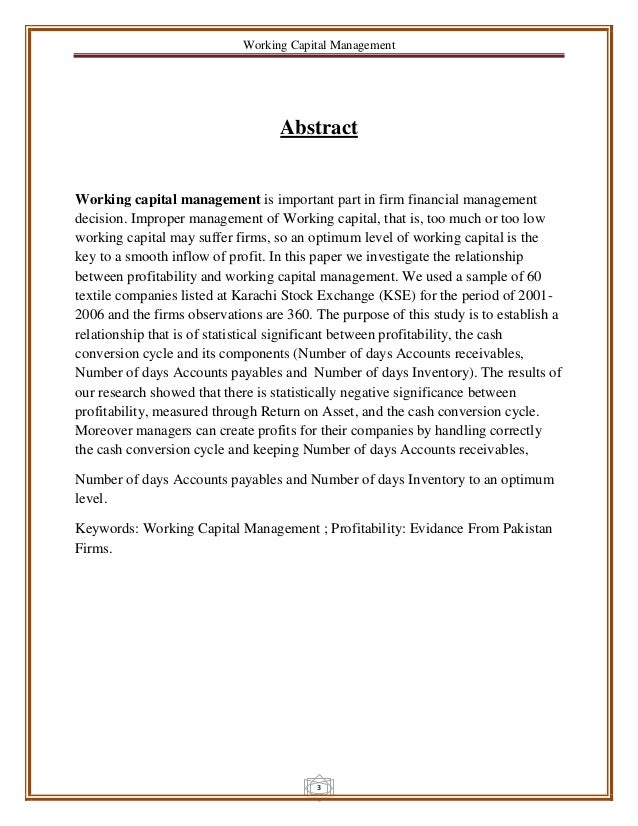 Working capital management research papers