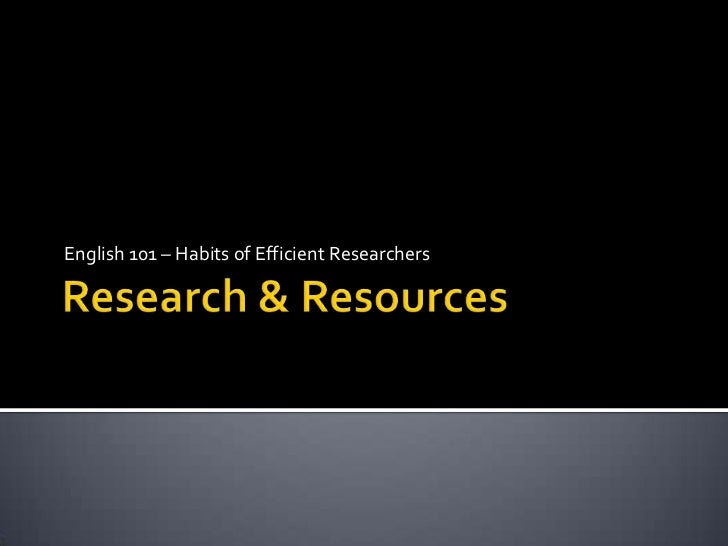 Research & resources english 101