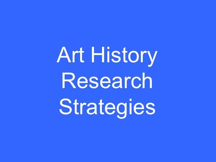 Art History Research Strategies