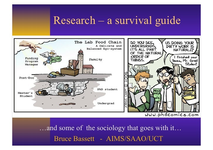 Research – a survival guide…and some of the sociology that goes with it…   Bruce Bassett - AIMS/SAAO/UCT