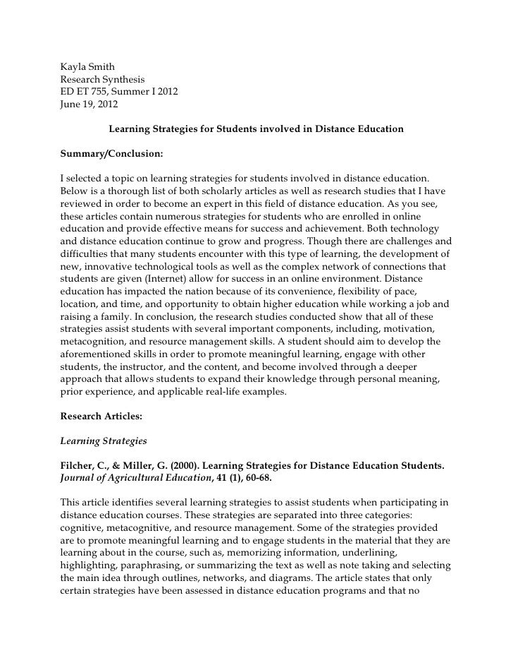 Kayla SmithResearch SynthesisED ET 755, Summer I 2012June 19, 2012           Learning Strategies for Students involved in ...