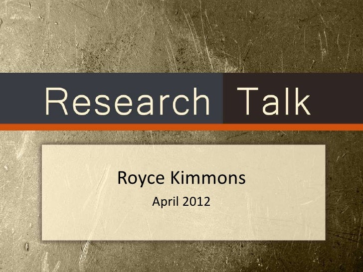 Royce Kimmons   April 2012
