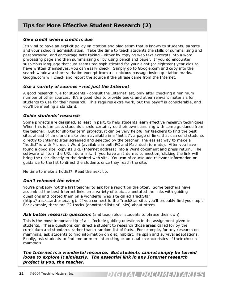 Tips for More Effective Student Research (2) Give credit where credit is due It's vital to have an explicit policy on cita...