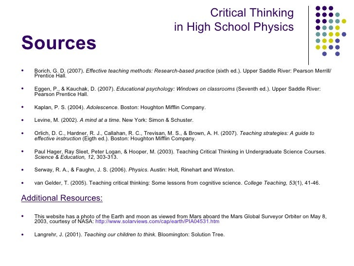 psychology critical thinking activities