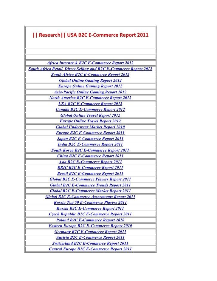 Research usa b2c e commerce report 2011