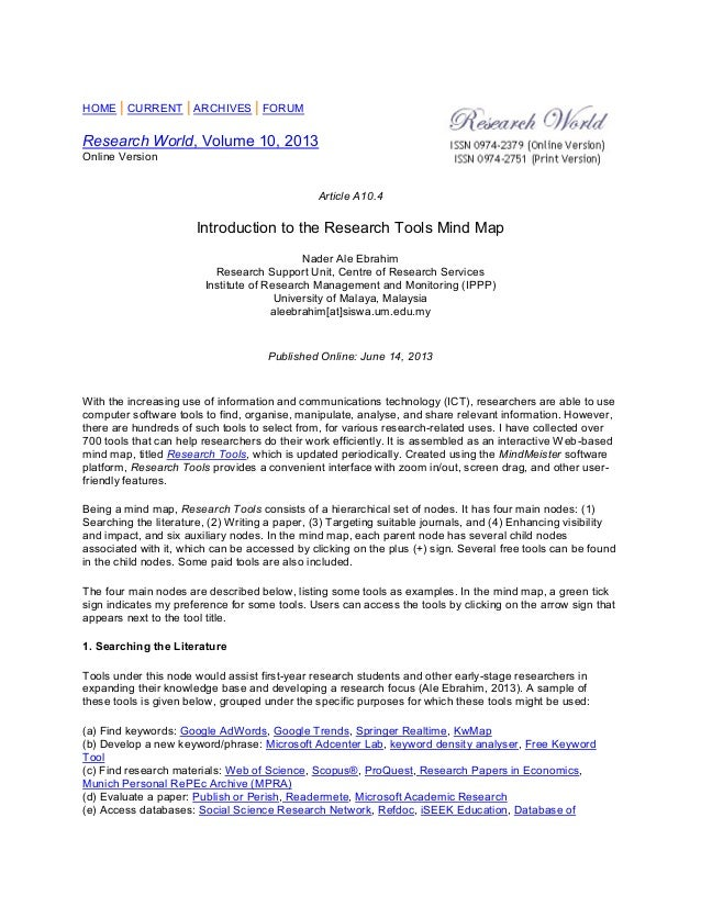 HOME | CURRENT | ARCHIVES | FORUM Research World, Volume 10, 2013 Online Version Article A10.4 Introduction to the Researc...