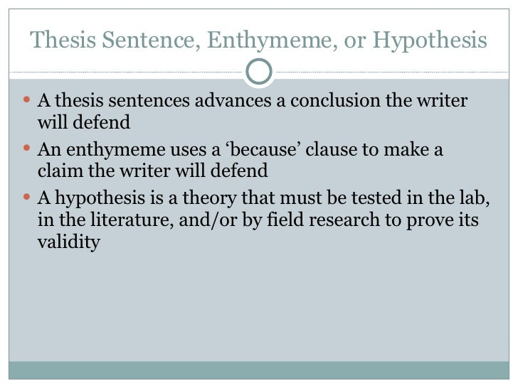 thesis and enthymeme
