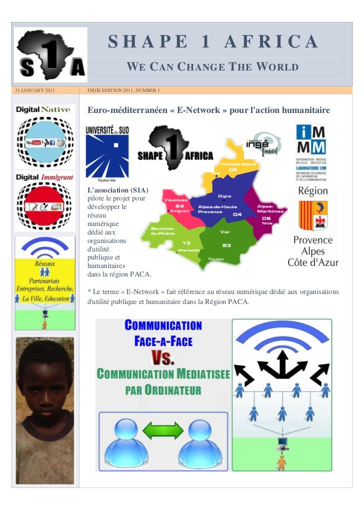 SHAPE 1 AFRICA                                 W E C AN C HANGE T HE W ORLD31 JANUARY 2011   FSDIE EDITION 2011, NUMBER 1 ...