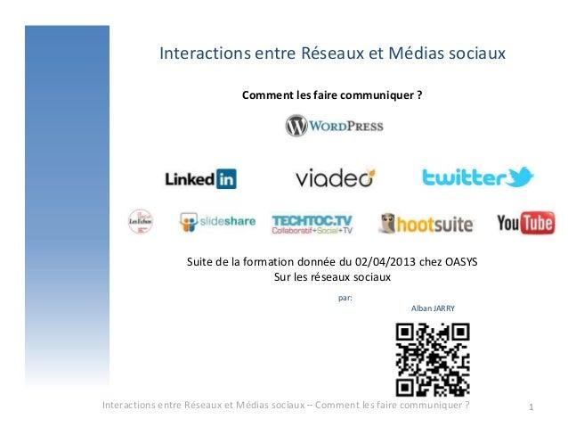 Interactions entre Réseaux et Médias sociaux                             Comment les faire communiquer ?                  ...