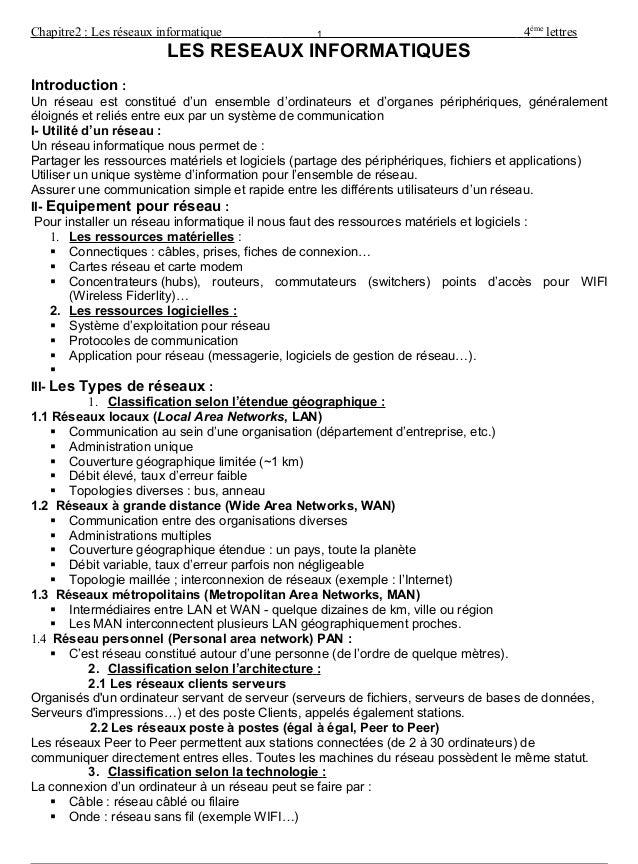 Chapitre2 : Les réseaux informatique 4ème lettres LES RESEAUX INFORMATIQUES Introduction : Un réseau est constitué d'un en...
