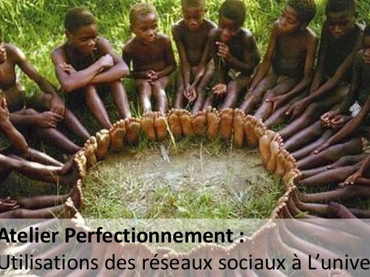 Atelier Perfectionnement :Utilisations des réseaux sociaux à L'unive                     Christophe Batier Strasbourg Janv...