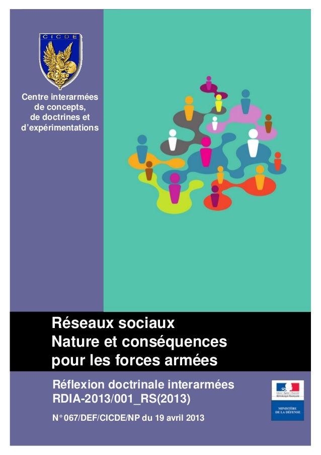 PAGE DE COUVERTURERéflexion doctrinale interarméesRDIA-2013/001_RS(2013)N° 067/DEF/CICDE/NP du 19 avril 2013Centre interar...