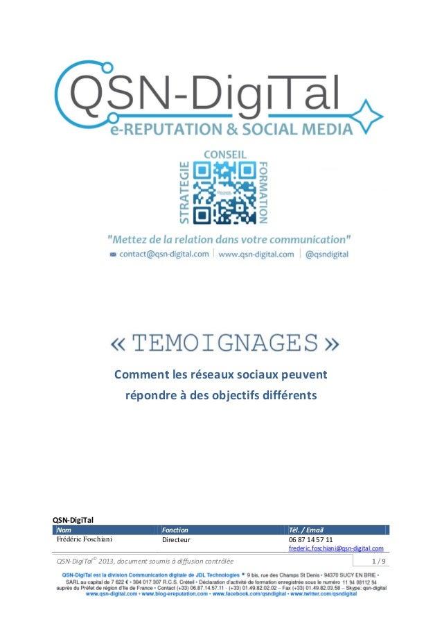 Comment les réseaux sociaux peuvent                       répondre à des objectifs différentsQSN-DigiTal Nom              ...