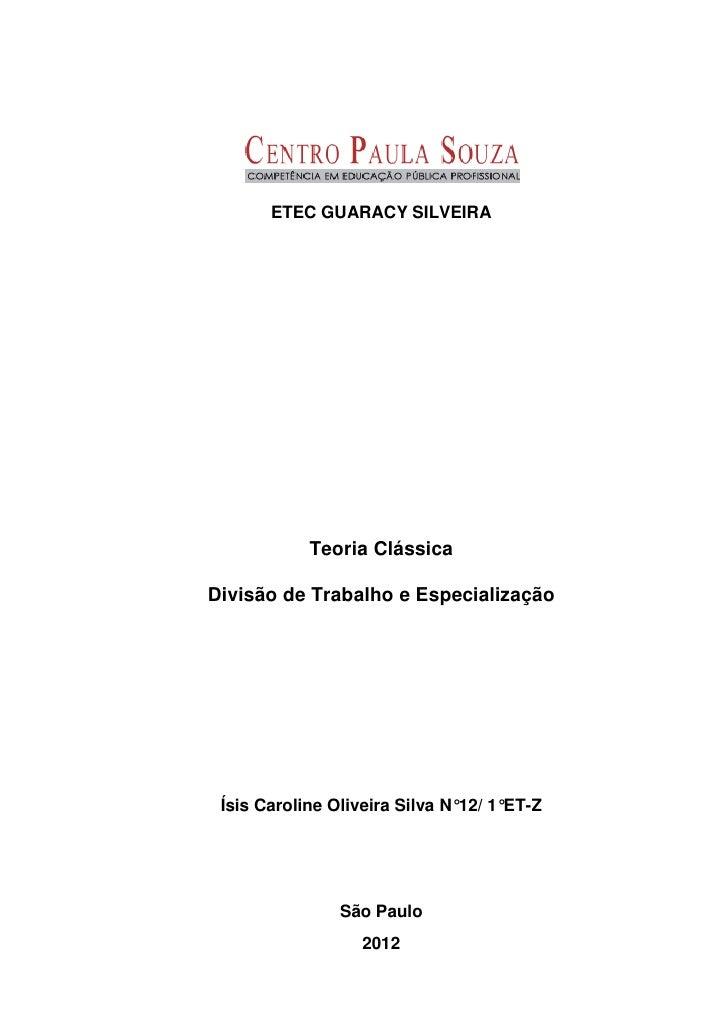 Resenha - Teoria Clássica: Divisão de Trabalho e Especialização