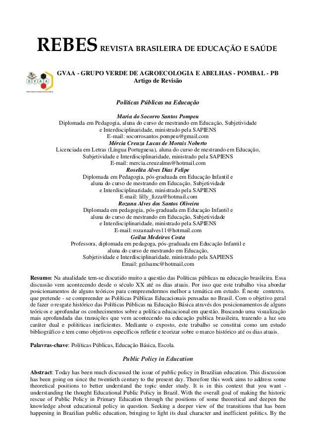 REBESREVISTA BRASILEIRA DE EDUCAÇÃO E SAÚDE GVAA - GRUPO VERDE DE AGROECOLOGIA E ABELHAS - POMBAL - PB Artigo de Revisão P...