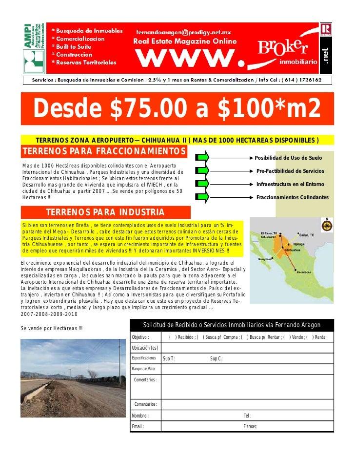 Desde $75.00 a $100*m2       TERRENOS ZONA AEROPUERTO—CHIHUAHUA II ( MAS DE 1000 HECTAREAS DISPONIBLES ) TERRENOS PARA FRA...