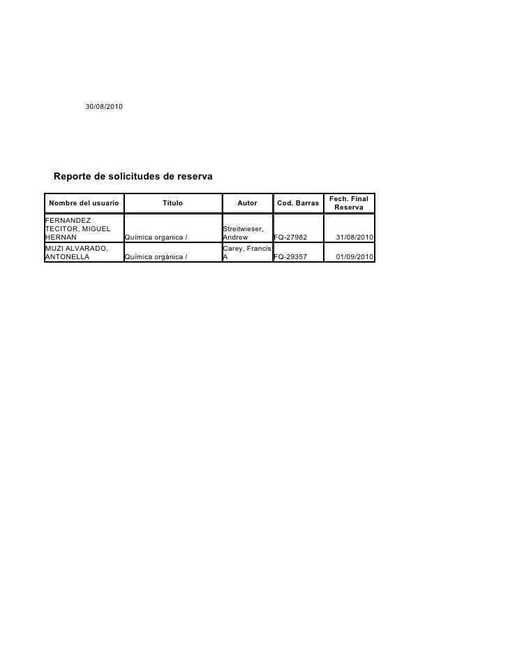 30/08/2010      Reporte de solicitudes de reserva                                                                         ...