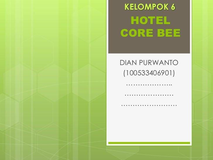 KELOMPOK 6 HOTELCORE BEEDIAN PURWANTO (100533406901)  ……………….. ………………………………………