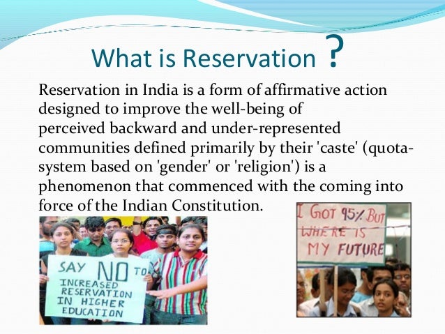 "reservation in education ""the status of reservation in education "" provision of reservation was implemented for the sc/st and obc after the enforcement of constitution of india."