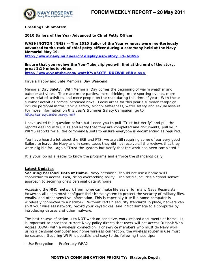 Reserve force weekly 20 may 2011
