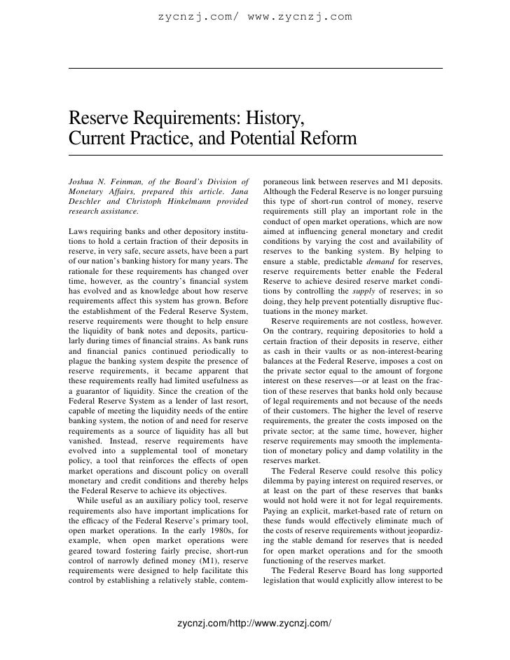 Reserve requirements  history, current practice, and potential reform