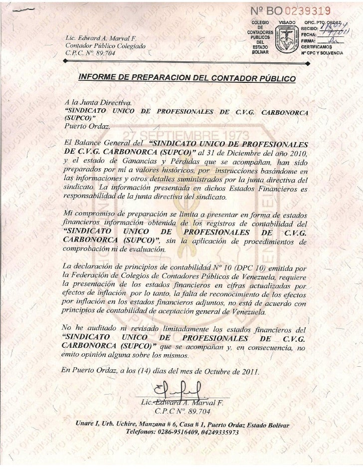 SINDICATO UNICO DE PROFESIONALES DE CVG CARBONORCA, C.A.                                  BALANCE GENERAL                 ...