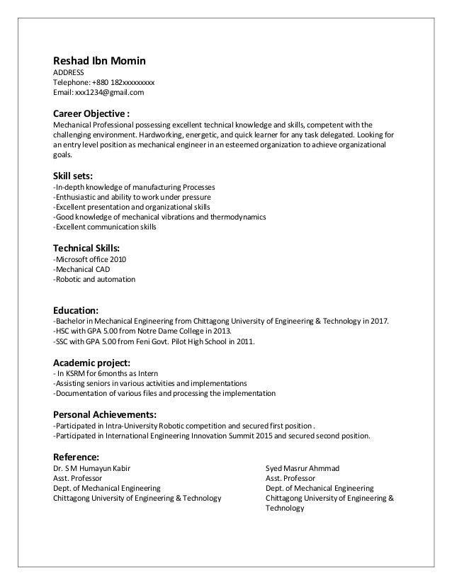 Entry level resume for mechanical engineers