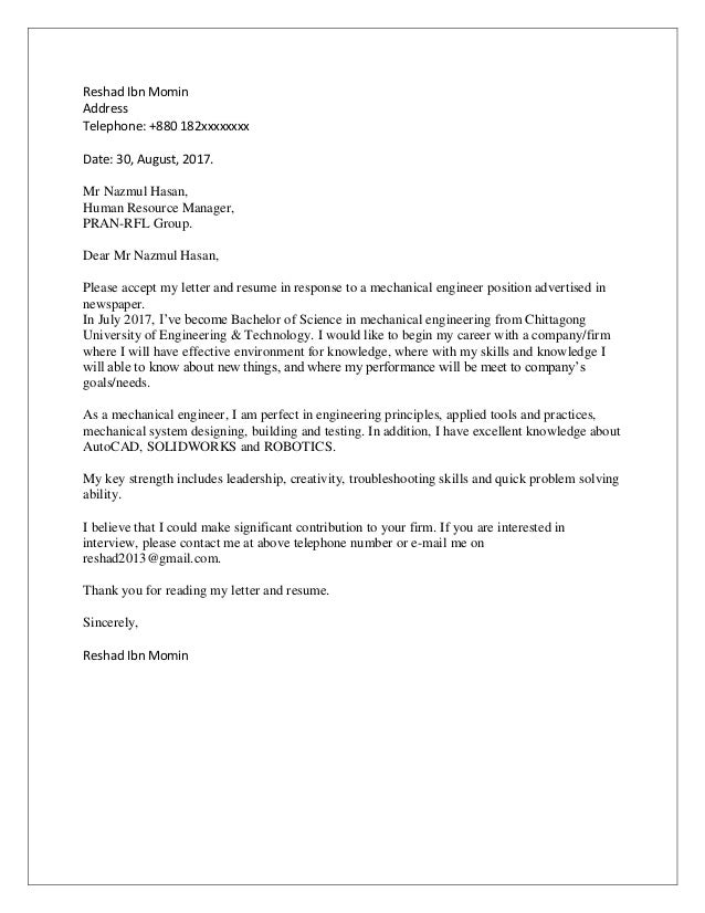 Entry Level Cover Letter Engineering - sample cover letter ...
