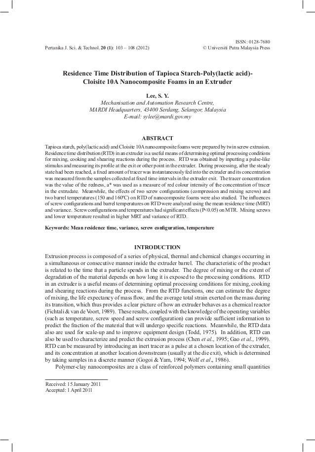 ISSN: 0128-7680Pertanika J. Sci. & Technol. 20 (1): 103 – 108 (2012) © Universiti Putra Malaysia PressReceived: 15 January...