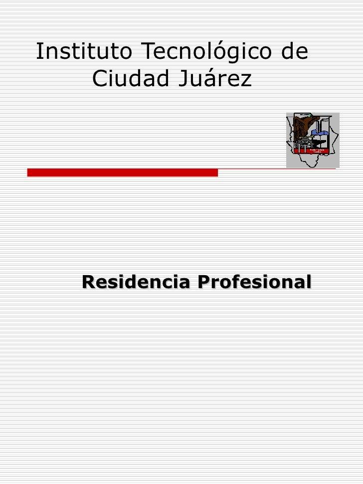 Instituto Tecnológico de Ciudad Juárez Residencia Profesional