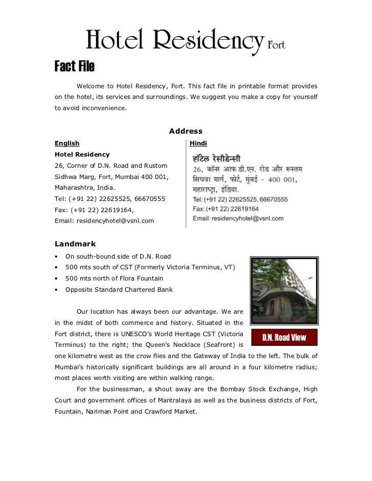 Hotel Residency FortFact File       Welcome to Hotel Residency, Fort. This fact file in printable format provideson the ho...