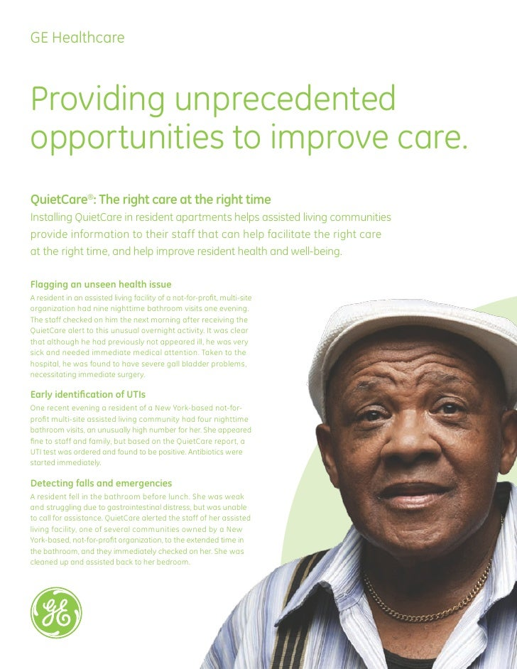GE QuietCare Testimonial Flyer for Assisted Living Professionals