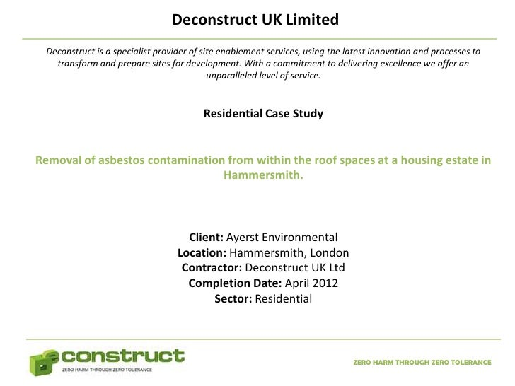 Asbestos Removal London Case Study – Residential