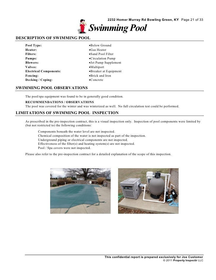 Residential home inspection sample report for Residential swimming pool inspection