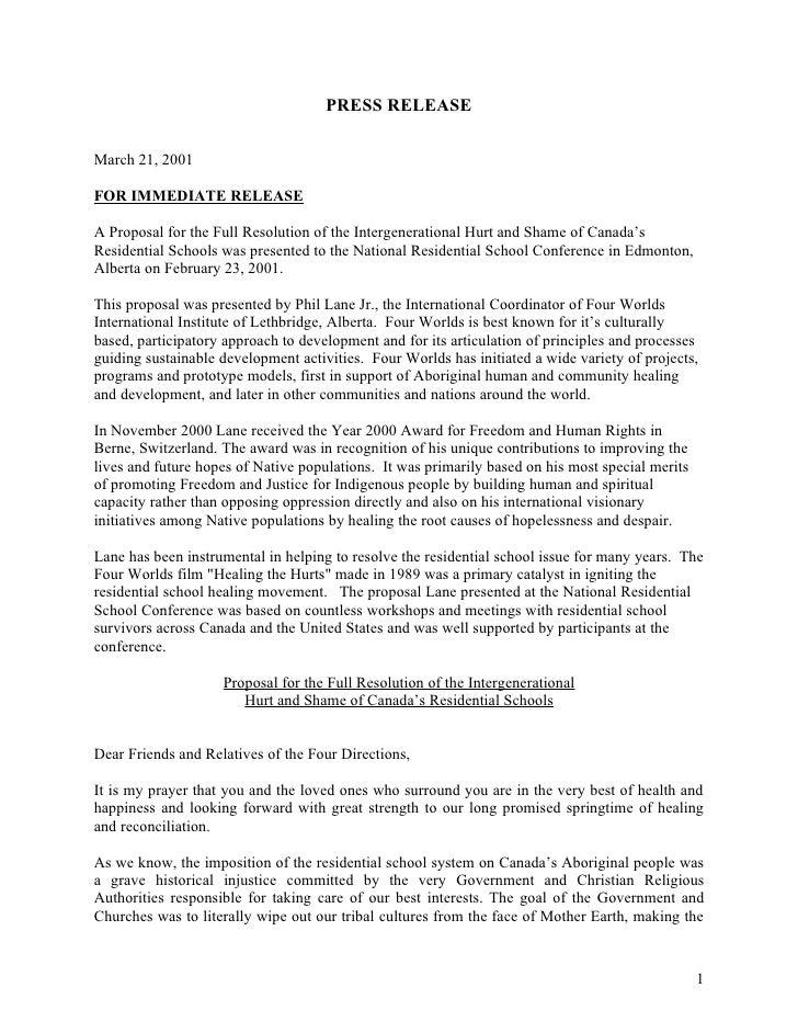 Residential school press release