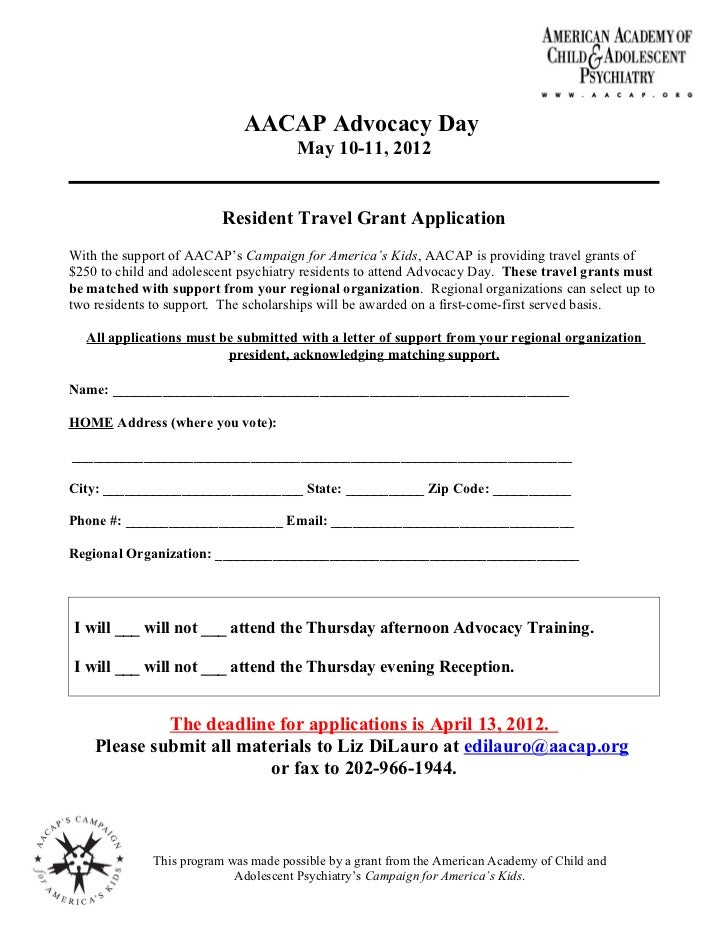 Resident Travel Award Application for AACAP Advocacy Day