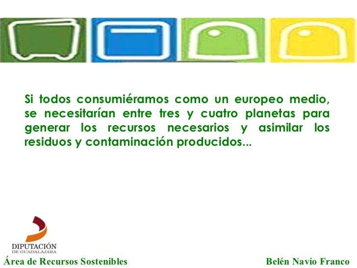 Área de Recursos Sostenibles   Belén Navío Franco Si todos consumiéramos como un europeo medio, se necesitarían entre tres...