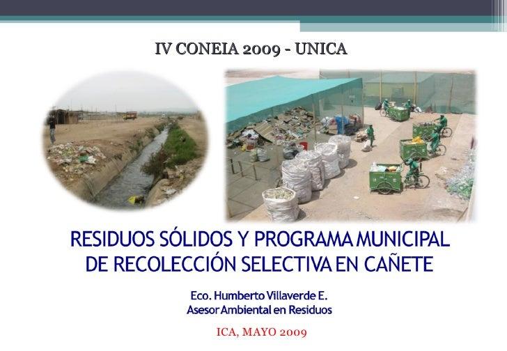 IV CONEIA 2009 - UNICA ICA, MAYO 2009