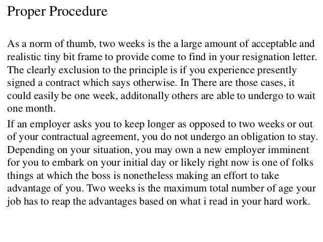 resignation letter 2 weeks notice